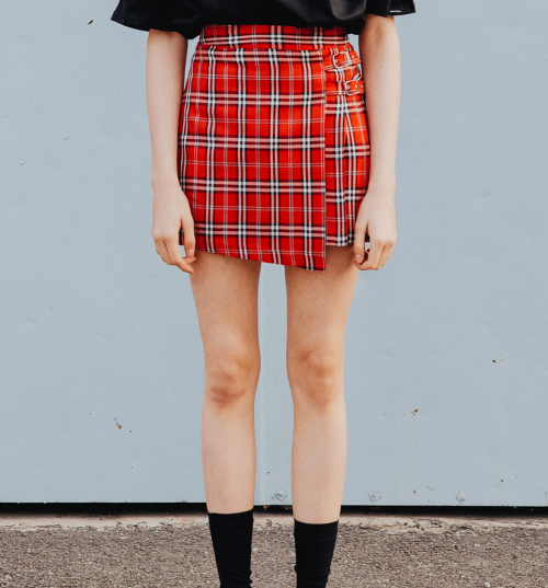 Buckled Check Wrap Skirt
