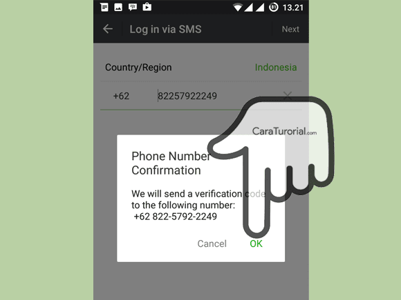 Phone number confirmation Wechat