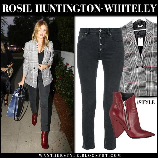 Rosie Huntington-Whiteley in black plaid blazer dark grey jeans and burgundy ankle boots saint laurent niki august 23 2017