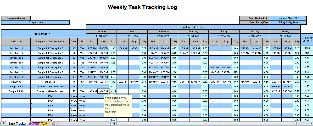 Time Tracking Excel Template Free