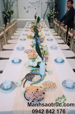 Mành tăm tre trải bàn ăn