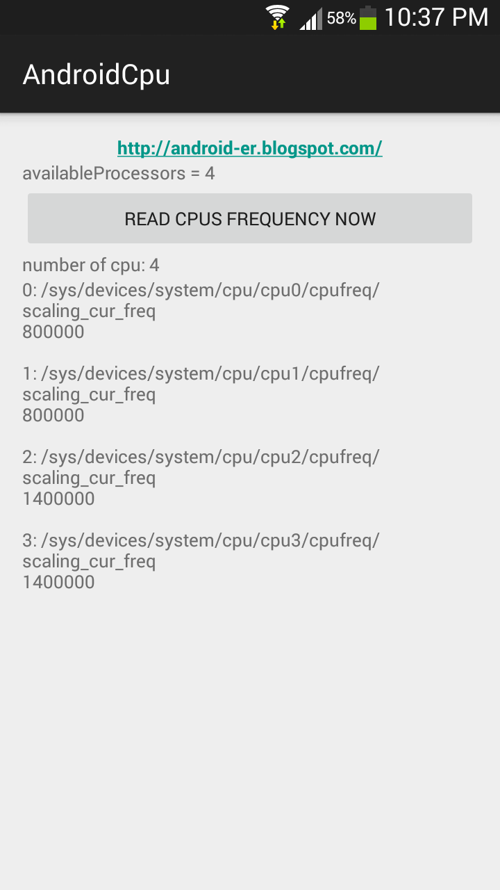 Android-er: Read CPU frequency using linux command