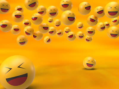 3D Laughing emoji with closing eyes background