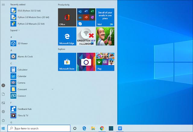 Start Menu of Windows 10.