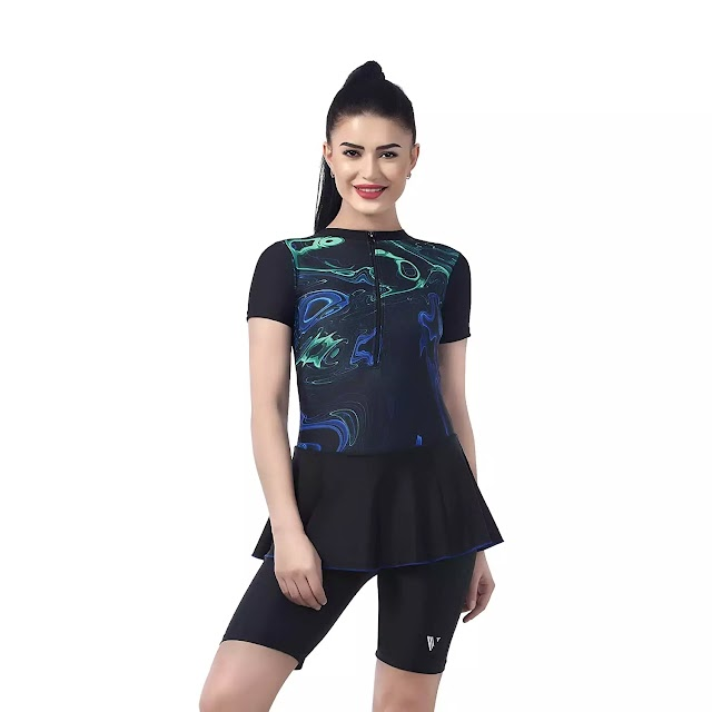 Women's Swimming Costume I with Chest Pads I Frock Style with High Neck and Printed Upper
