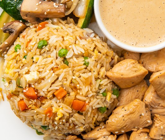 Hibachi Chicken with Fried Rice and Vegetables #dinner #veggies