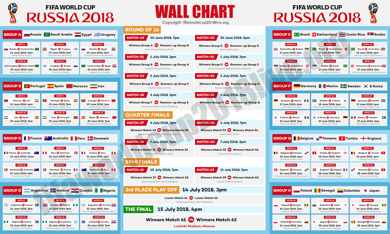 Fifa World Cup 2018 Schedule Eastern Time