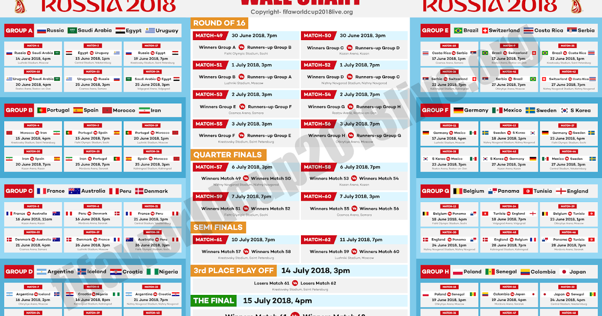 Timing Diagram Excel 03 Ford F150 Stereo Wiring Printable Fifa World Cup 2018 Free Wallchart Pdf Download - Live Streaming
