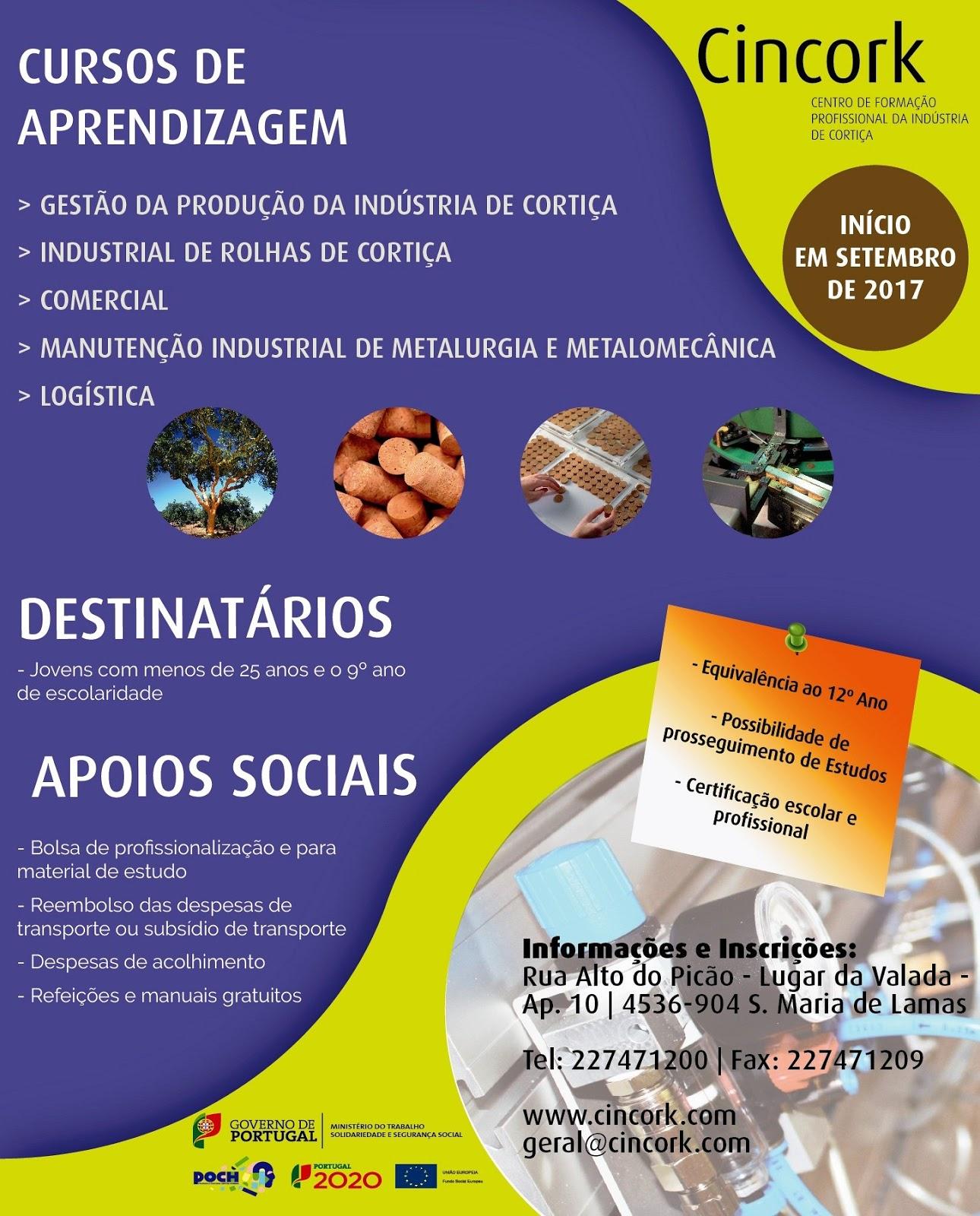 Cursos de aprendizagem subsidiados em Santa Maria de Lamas (CINCORK)