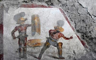 Στο φως εντυπωσιακή τοιχογραφία δύο μονομάχων στην Πομπηία