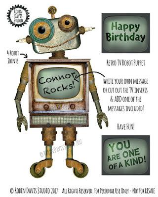 Robot Birthday Paper Puppet by Robin Davis Studio