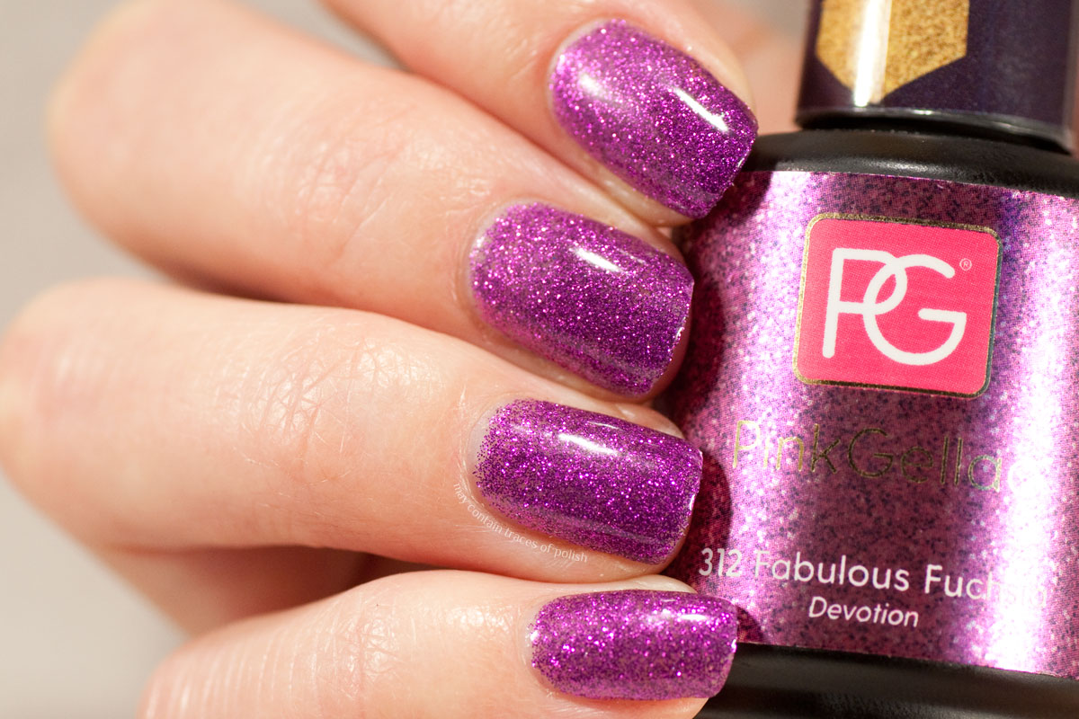 Pink Gellac Devotion Collection swatches - 312 Fabulous Fuchsia