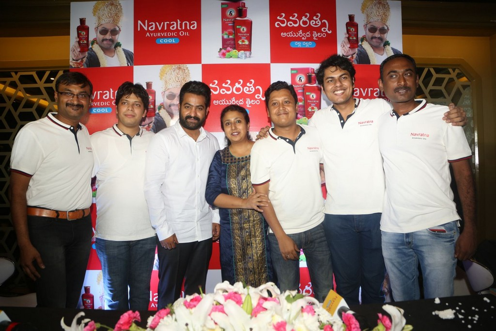 Jr NTR At Navratna Ayurvedic Oil Press Meet Event Stills