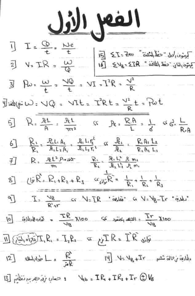 ملخص قوانين الفيزياء للثانوية العامة 10