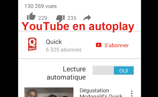 YouTube Mobile en autoplay