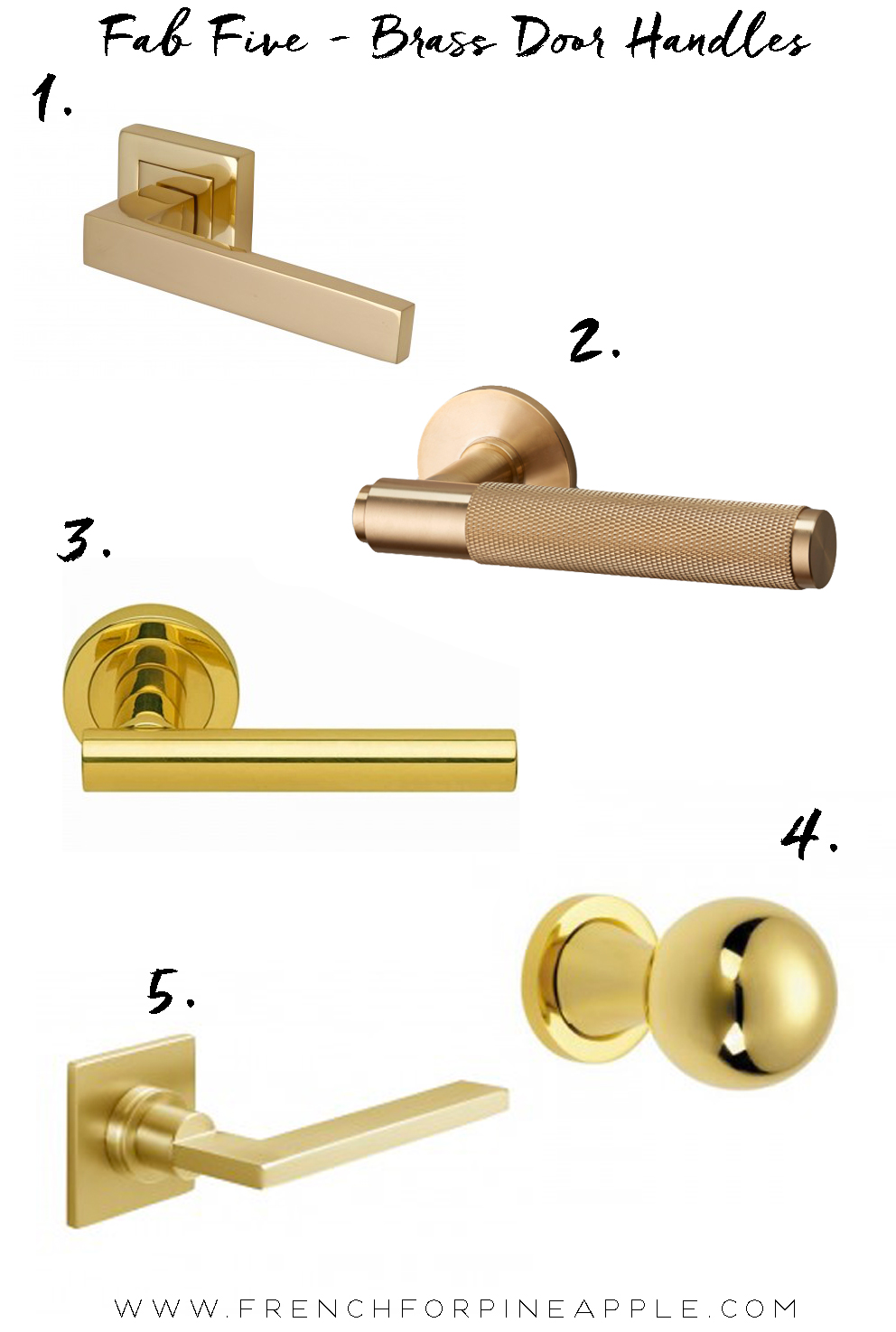 french for pineapple blog fab five brass door handles