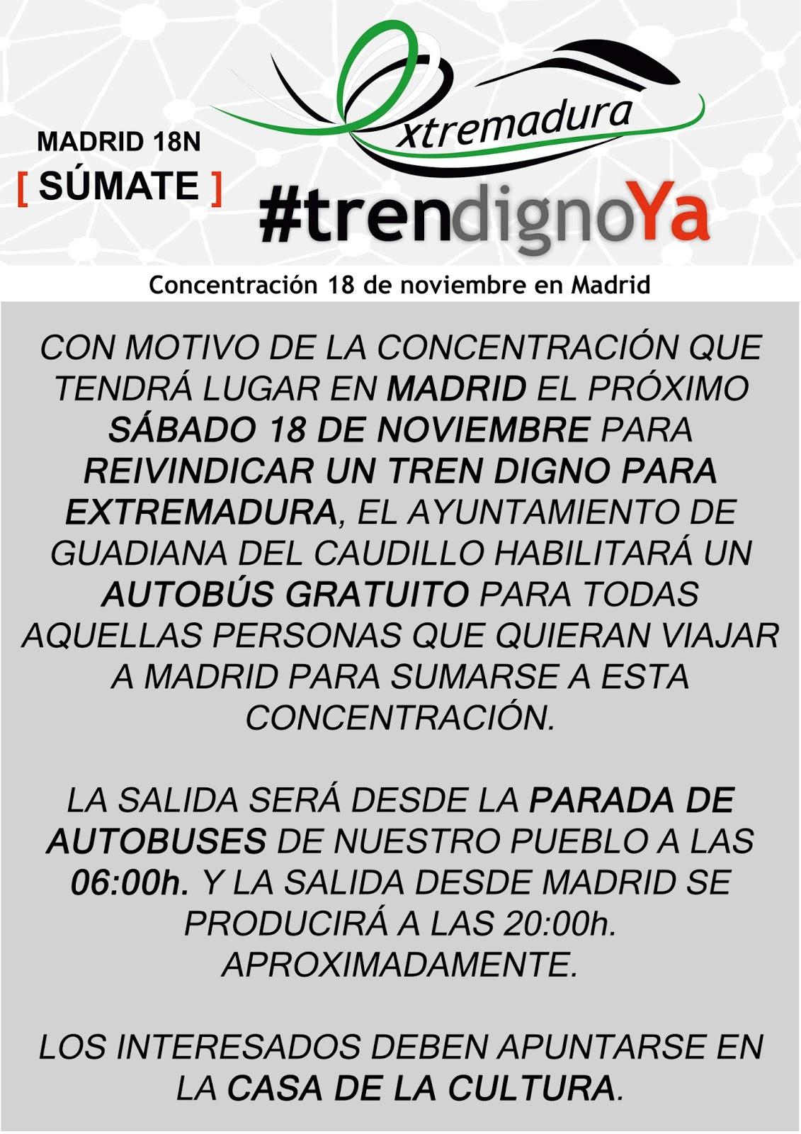 Autobús Gratuito Para La Concentración En Madrid Por Un Tren Digno Para  Extremadura