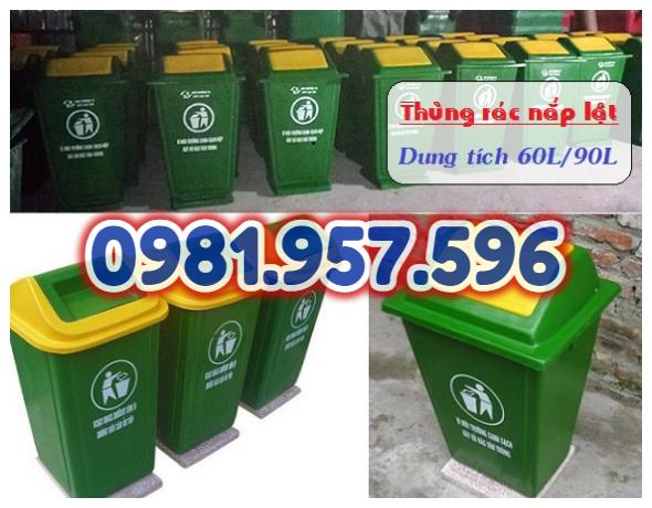 Thùng rác nhựa 60L nắp bập bênh, thùng rác 90L có chân