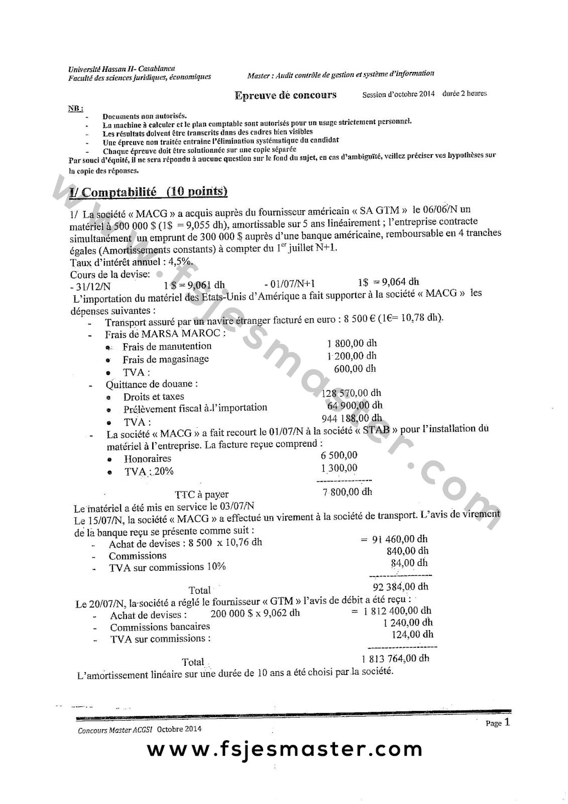 Exemple Concours Master Audit Contrôle de Gestion et Système d'Information (ACGSI) 2014-2015 - Fsjes Ain Chock