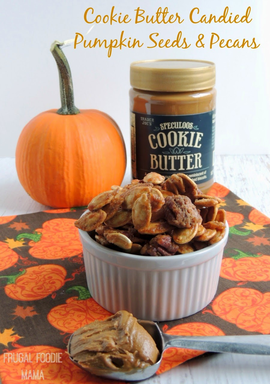 Cookie Butter Candied Pumpkin Seeds and Pecans via thefrugalfoodiemama.com - crunchy, sweet & salty!