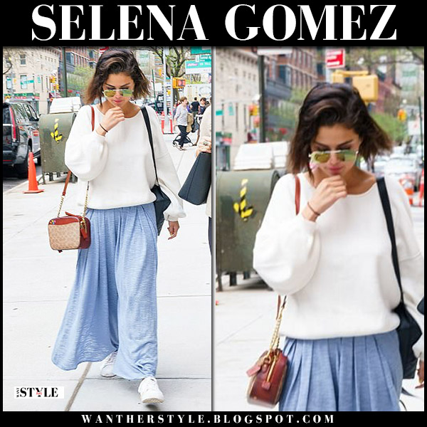Selena Gomez in white sweater and light blue pants free people street style may 4