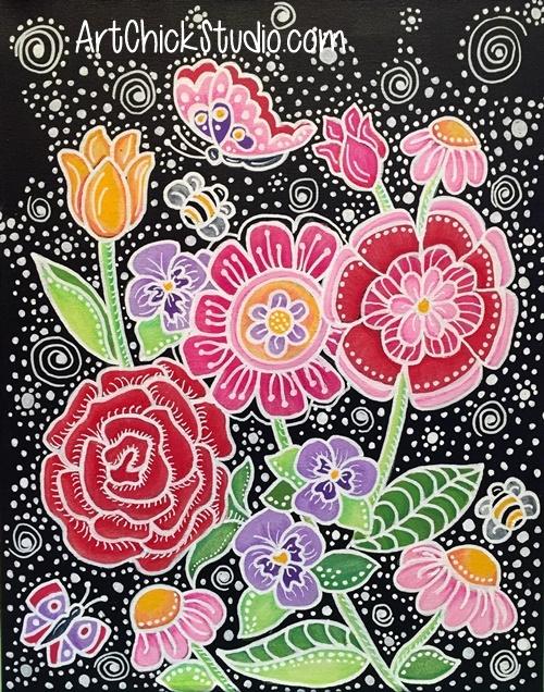 Happy Flowers Mixed Media Art Chick Studio