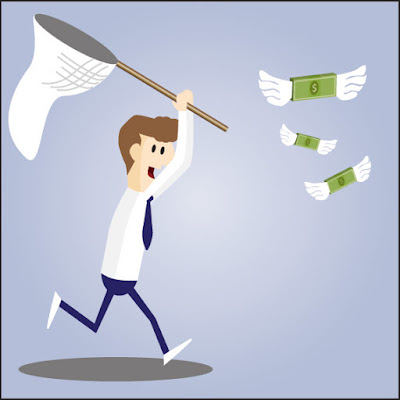 "a cartoon of a man chasing ""flying money"" with a butterfly net"