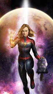 Captain Marvel killed Thanos Mobile HD Wallpaper