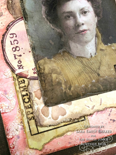 Sara Emily Barker https://sarascloset1.blogspot.com/2020/05/vintage-pink-inspiration.html Mixed Media Card #timholtz #stampersanonymous #rangerdistress #ideaology  6