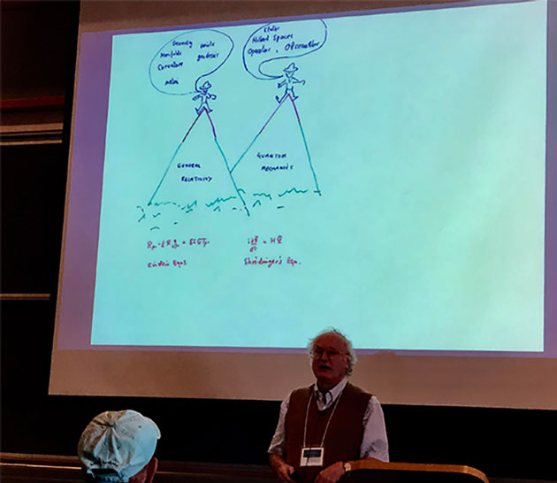 Professor Gary Gibbons, describes Jim Hartle as expert in physics' twin peaks: GR and QM (Source: Palmia Observatory)