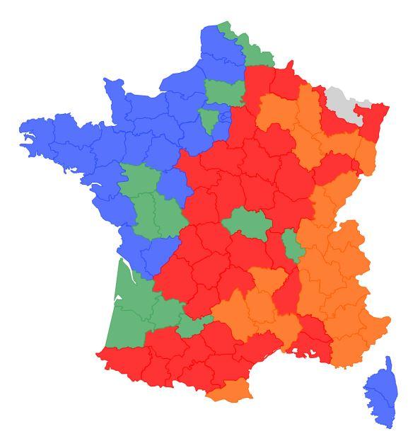acafc: Carte de dispersion du loup en France au 11/06/16