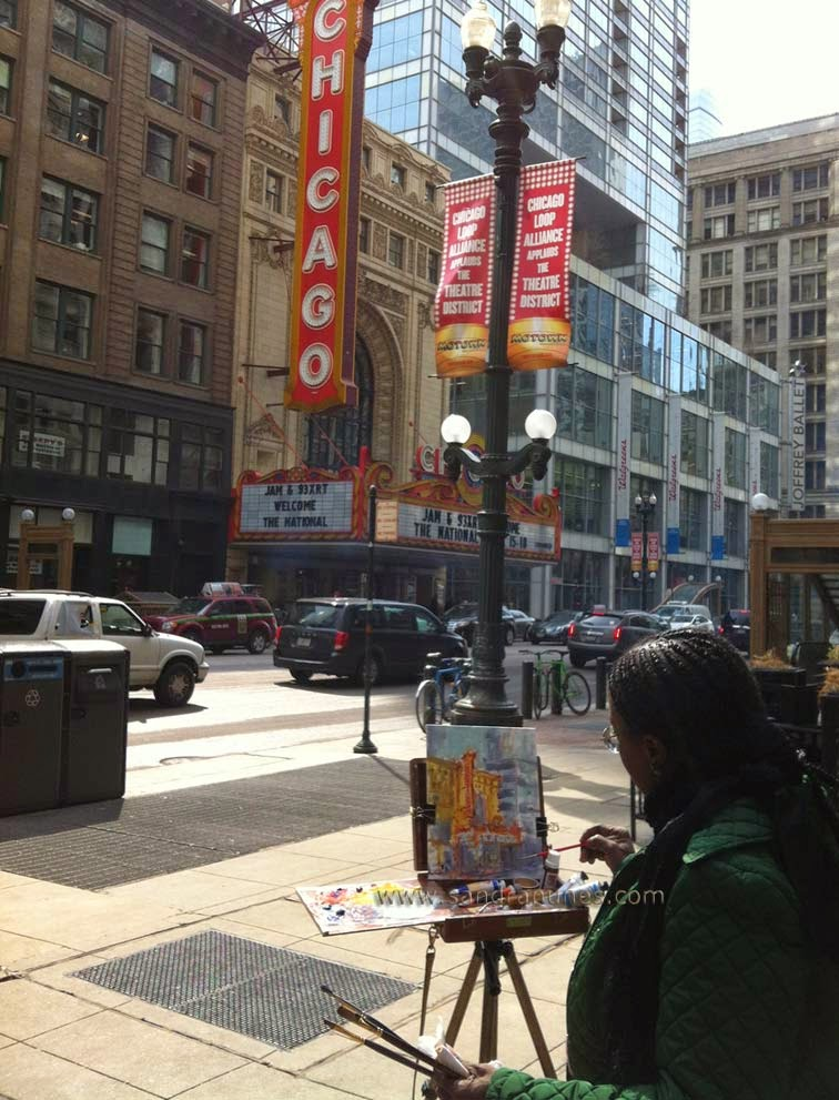 Sandra Nunes, plein air painting in Chicago