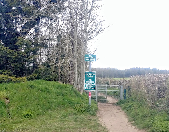 The track becomes a footpath at this gate - see point 5 below