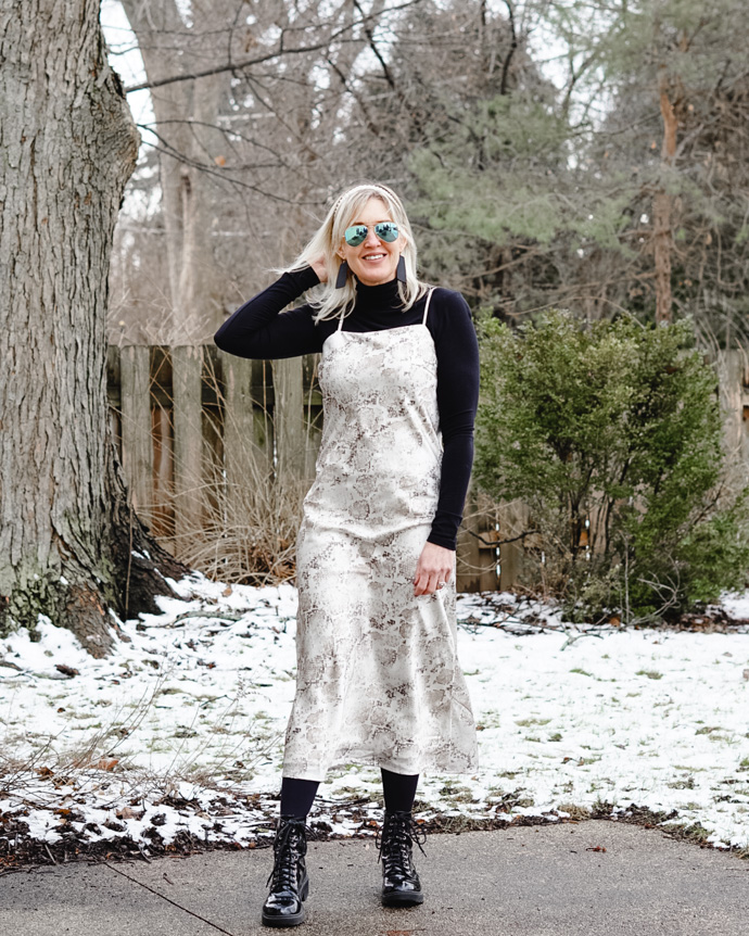 how to wear a slip dress in winter