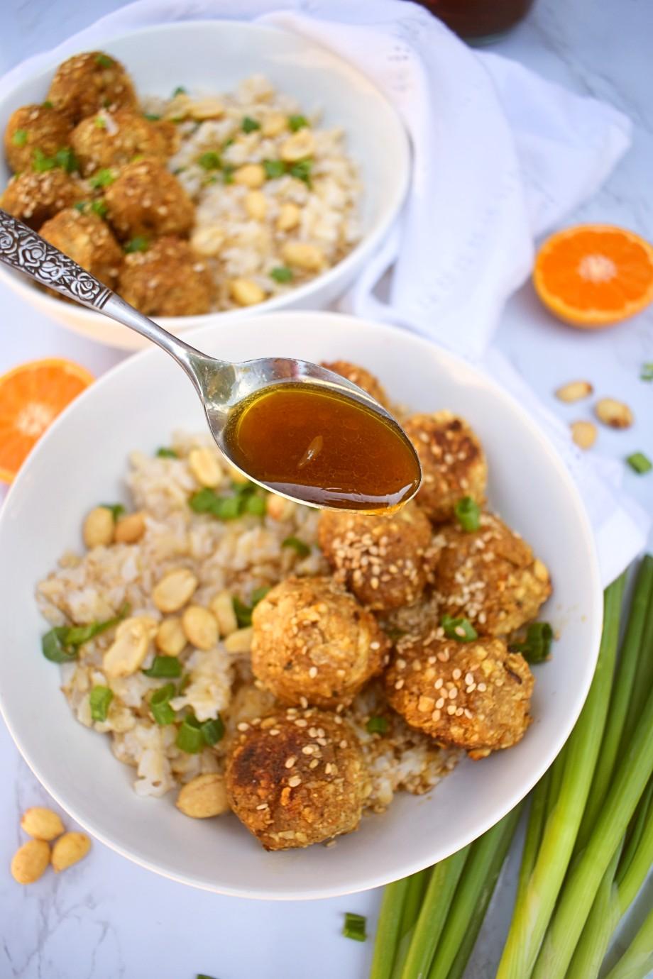 Sticky Vegan Peanut Meatballs