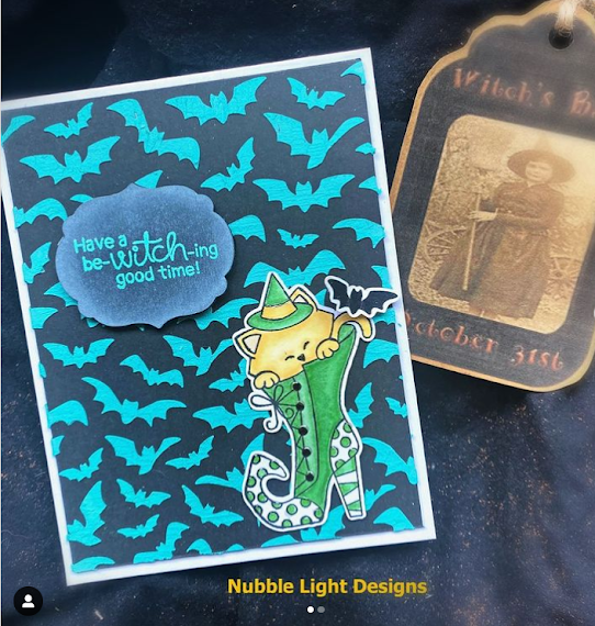 Have a be-witch-ing good time by Nubble LIght Designs features Witchy Newton and Flying Bats by Newton's Nook Designs; #inkypaws, #newtonsnook, #cardmaking, #catcards, #halloweencards
