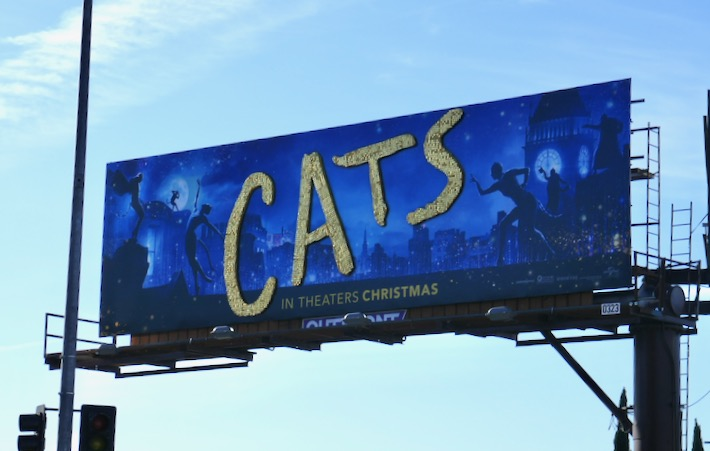Cats movie glittering sequin logo billboard