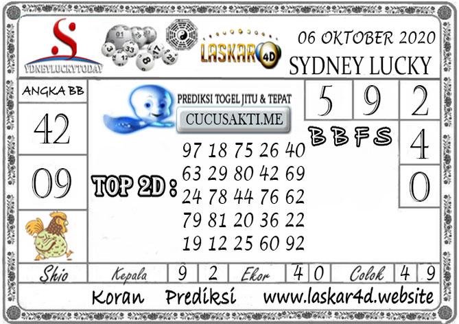 Prediksi Sydney Lucky Today LASKAR4D 06 OKTOBER 2020
