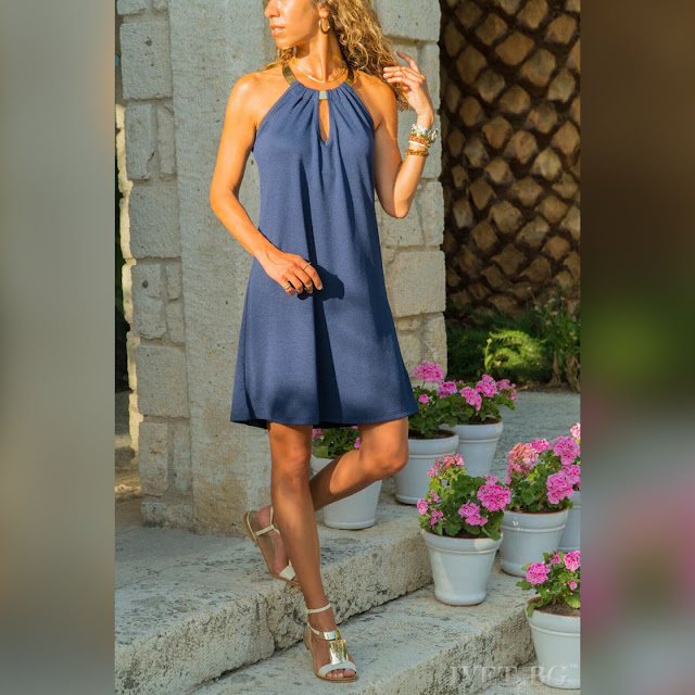 Μοντέρνο κοντό μπλε φόρεμα DORIA BLUE