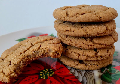 Side view of baked chewy molasses spice cookies with one cookie with a bite out.