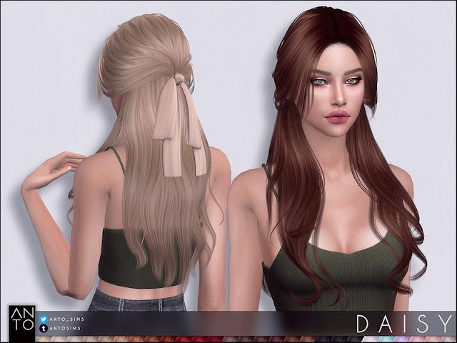 Anto - Daisy (Hairstyle) Анто - Дейзи (Прическа) для The Sims 4 27 цветов работают со шляпами. Плавная такелажная карта теней в комплекте. 19 цветов лука, найденных в шляпах. Автор: Anto