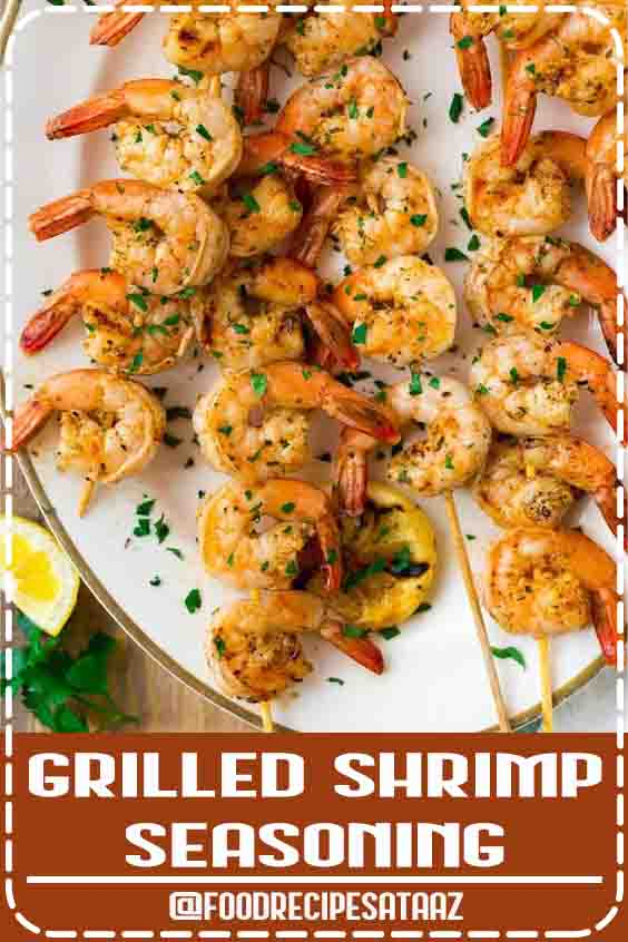4.6 ★★★★★ | 4-Ingredient Grilled Shrimp Seasoning. Perfect blend of spices for making the best easy grilled shrimp! Use this recipe for grilled shrimp skewers or bake the shrimp in the oven. Great for simple, healthy dinners and party appetizers. #Grilled #Shrimp #Recipes #Skewers #Healthy