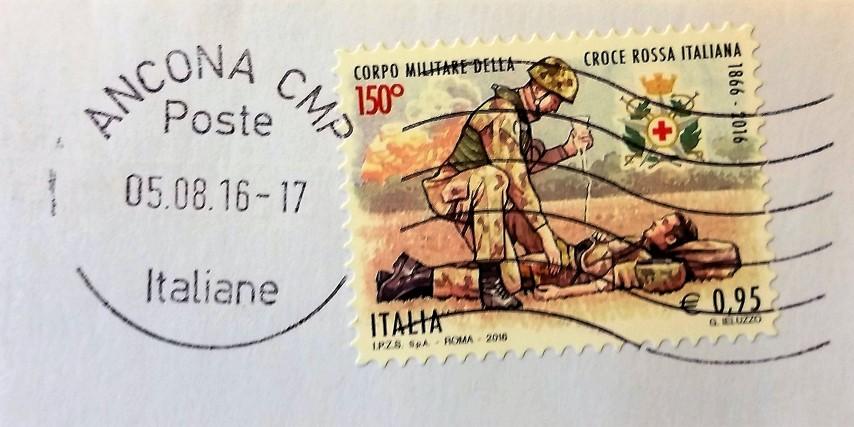 francobollo Corpo Militare della Croce Rossa Italiana 150° anniversario
