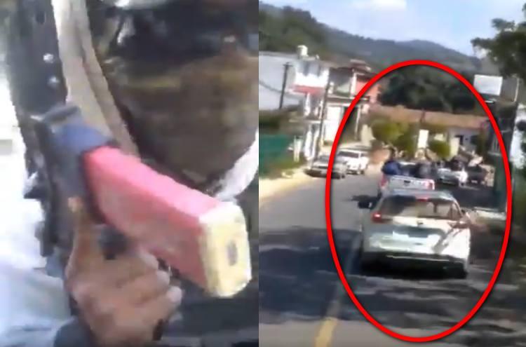 Armados hasta los dientes: Convoy de sicarios de La Nueva Familia Michoacana se exhiben ahora en Almoloya de Alquisiras, Estado de México