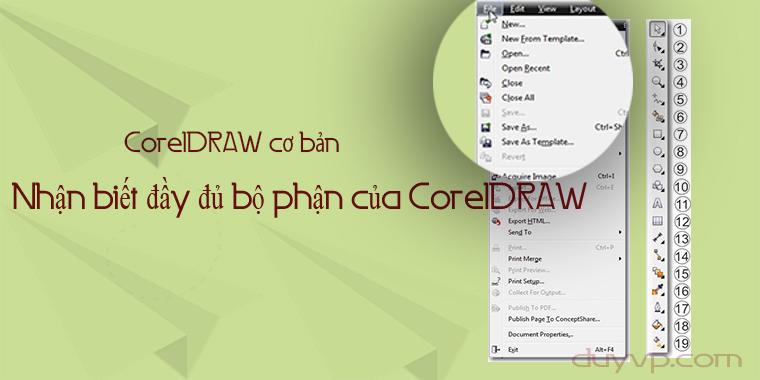 Nhận biết đầy đủ các bộ phận của CorelDRAW