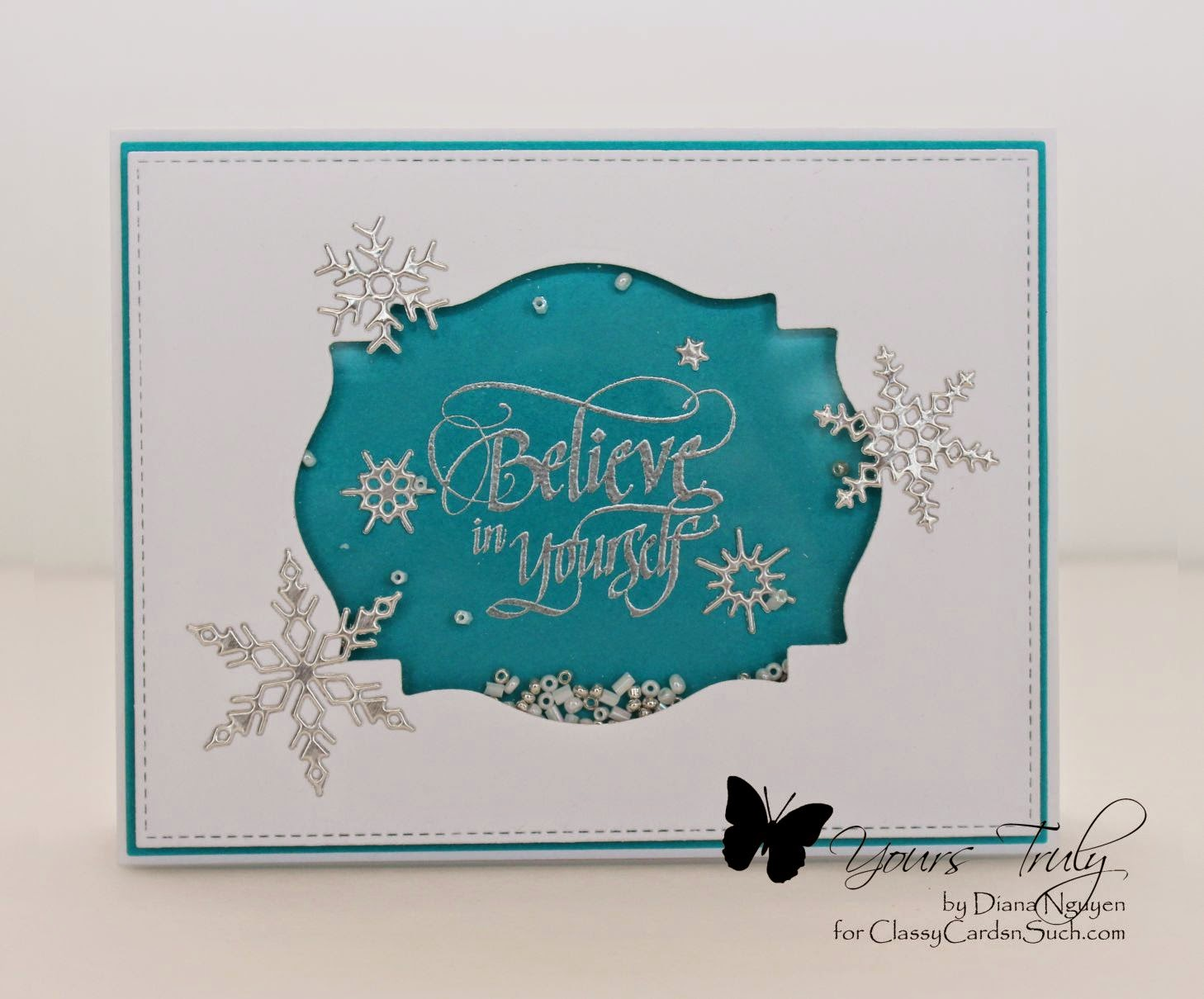 Diana Nguyen, Quietfire design, believe in yourself, shaker card, impression obsession, snowflake, card