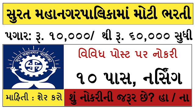 Surat Municipal Corporation Recruitment for 398 Medical Officer, Staff Nurse, Wordboy & Aaya Posts 2021