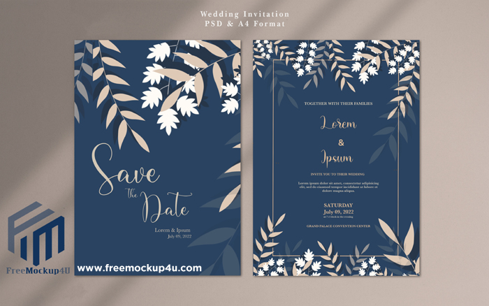 Minimalist Navy Wedding Invitation Card Template