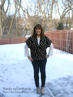 Image of Sharon wearing wool BurdaStyle short jacket, 09-2018-109, on sewing blog