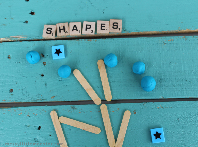2D playdough shape activity for toddlers and preschoolers